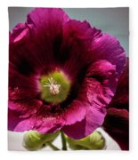 Purple Hollyhock Fleece Blanket