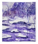 Purple Ice On Kaaterskill Creek Fleece Blanket