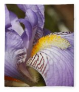 Purple Iris Closeup Fleece Blanket