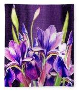 Purple Iris Dance  Fleece Blanket