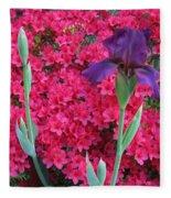 Purple Iris In Pink 2  Fleece Blanket