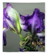 Purple Iris Water Drops Fleece Blanket