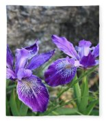 Purple Irises With Gray Rock Fleece Blanket