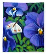 Purple Pansies And White Moth Fleece Blanket