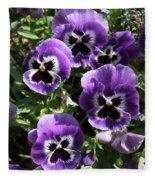 Purple Pansies Fleece Blanket