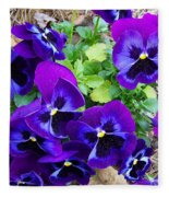 Purple Pansies Fleece Blanket