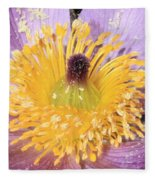 Purple Pasque Flower With Pollen Fleece Blanket
