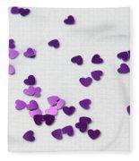 Purple Scattered Hearts II Fleece Blanket