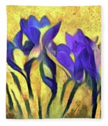 Purple Spring Crocus Flowers Fleece Blanket