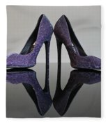 Purple Stiletto Shoes Fleece Blanket