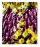 Purple Sunflower Seeds Fleece Blanket