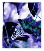 Purple Teal And A White Butterfly Fleece Blanket