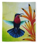 Purple-throated Carib And Bird Of Paradise Fleece Blanket