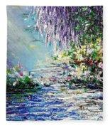 Purple Tree By The Lake Fleece Blanket