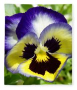 Purple White And Yellow Pansy Fleece Blanket