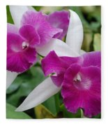 Purple White Orchids Fleece Blanket