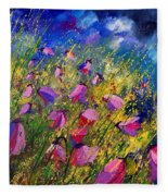 Purple Wild Flowers  Fleece Blanket
