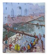 Pushkar Ghats Rajasthan Fleece Blanket