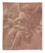 Putto And Angel Holding A Banderole, 1706  Fleece Blanket