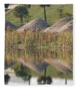 Pyrimids By The Lakeside Cache Fleece Blanket
