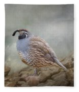 Quail On The Rocks Fleece Blanket