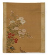 Quail Under Autumn Flowers Fleece Blanket