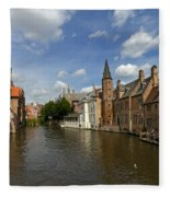 Quay Of The Rosary In Bruges Belgium Fleece Blanket