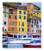 Quayside At Portofino Fleece Blanket