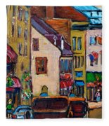 Quebec City Street Scene  Caleche Ride Fleece Blanket