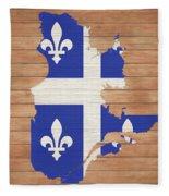 Quebec Rustic Map On Wood Fleece Blanket