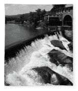 Quechee, Vermont - Falls 3 Bw Fleece Blanket