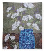 Queen Anne's Lace In Blue Vase Fleece Blanket