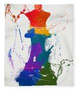 Queen Chess Piece Paint Splatter Fleece Blanket