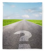 Question Mark Symbol On Long Empty Straight Road Fleece Blanket