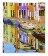 Quiet Waterway Reflections Fleece Blanket