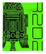 R2d2 - Star Wars Art - Green Fleece Blanket