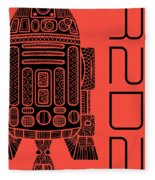 R2d2 - Star Wars Art - Red Fleece Blanket
