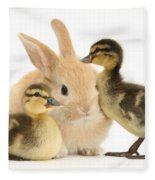 Rabbit And Ducklings Fleece Blanket