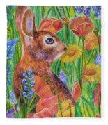 Rabbit In Meadow Fleece Blanket