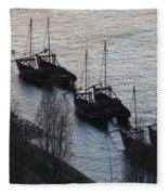 Rabelo Boats On Douro River In Portugal Fleece Blanket