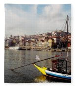 Rabelo Boats On River Douro In Porto 03 Fleece Blanket