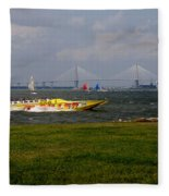Race Boat In Charleston Fleece Blanket