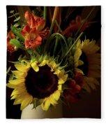 Radiant Sunflowers And Peruvian Lilies Fleece Blanket