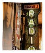 Radio Nashville Sign Fleece Blanket