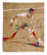 Rafael Nadal Tennis Star Watercolor Portrait On Worn Canvas Fleece Blanket