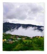 Raging Clouds On The Village Fleece Blanket