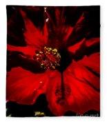 Raging Red Hibiscus Fleece Blanket