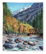 Rail Bridge At Cascade Fleece Blanket