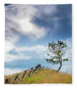 Rail Fence And A Tree Fleece Blanket