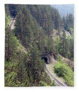 Railroad And Tunnels On Mountain Fleece Blanket